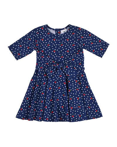 Ladybug & Polka-Dot Tie-Front Dress, Size 2-6X