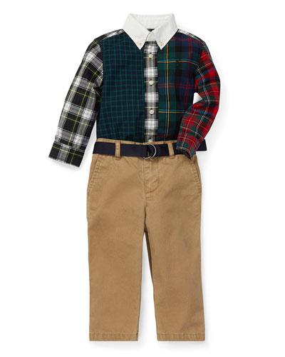 Poplin Plaid Patchwork Shirt w/ Pants & Belt, Size 6-24 Months