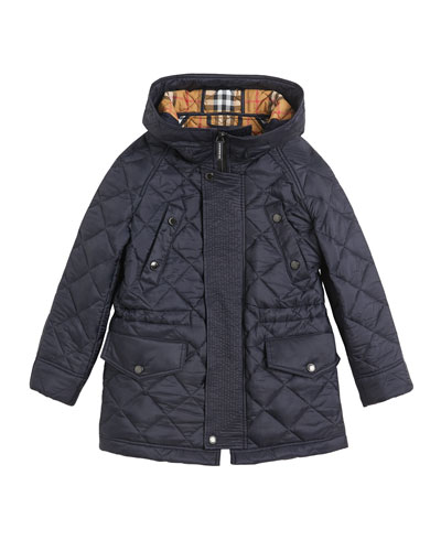 Tyle Diamond-Quilted Hooded Coat  Size 3-14