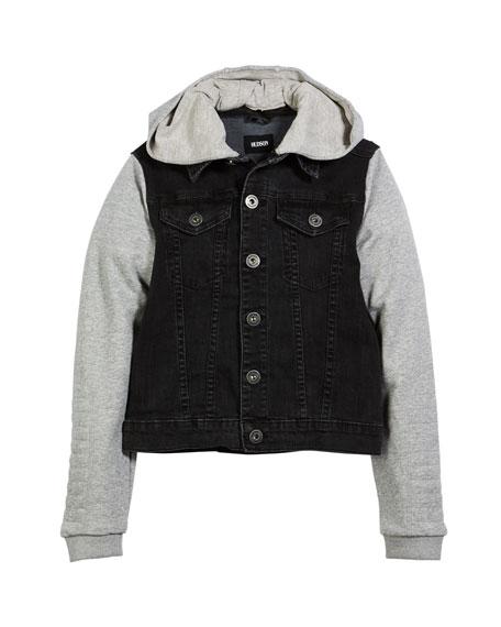 Hudson Emerson Denim Jacket w/ Contrast Sleeves, Size