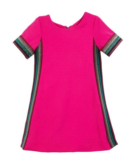 Knit Short-Sleeve Dress with Metallic Stripes, Size 4-6X