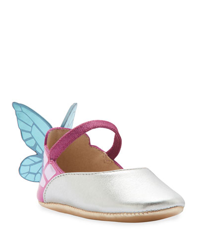 Chiara Metallic Leather Butterfly-Wing Flats  Baby