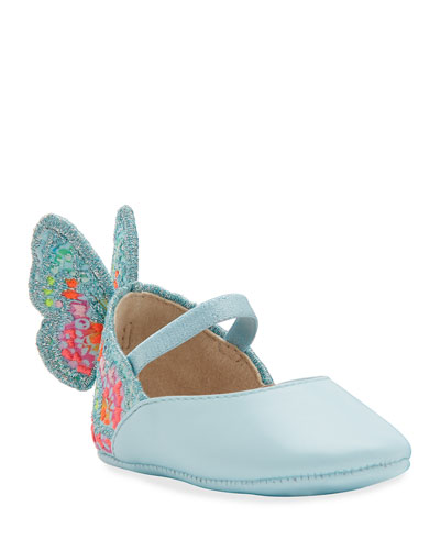 Chiara Embroidered Butterfly-Wing Flats  Baby