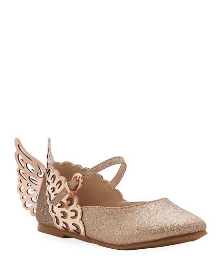 Sophia Webster Evangeline Glittered Butterfly-Wing Flats,