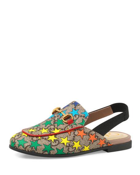 34d9c0f1a5f Gucci Princetown GG Supreme Rainbow Star-Print Horsebit Mule Slide ...