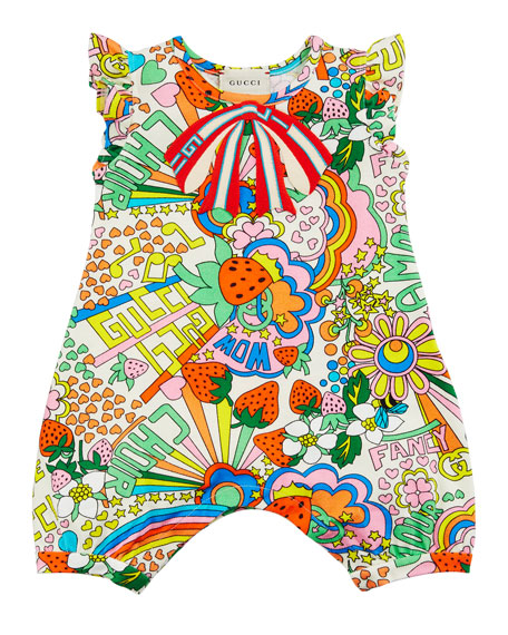 Mixed Logo Print Playsuit, Size 3-24 Months