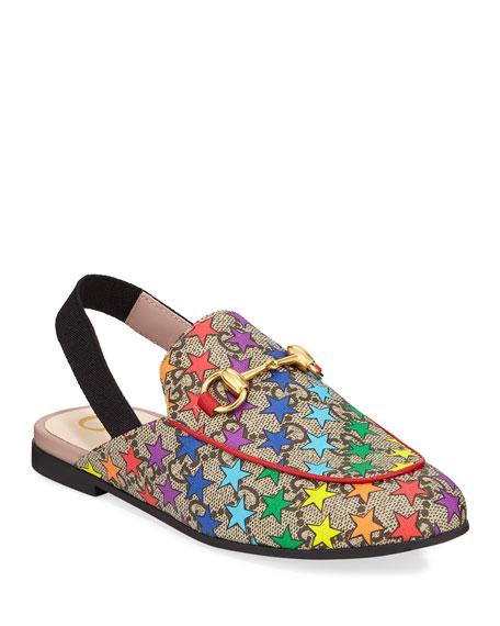 dcf530d6735 Gucci Princetown GG Supreme Rainbow Star-Print Horsebit Mule Slide ...