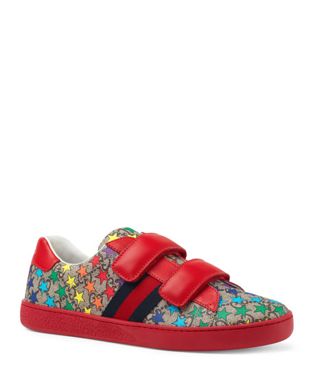 91616213a3b Gucci New Ace GG Supreme Rainbow Star-Print Sneakers