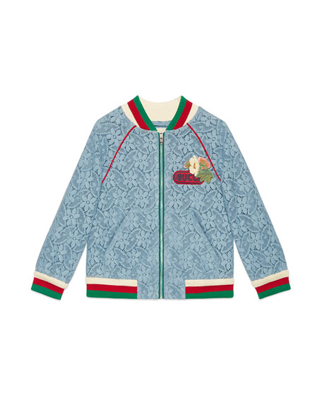 Lace Bomber Jacket w/ Knit Trim, Size 4-12