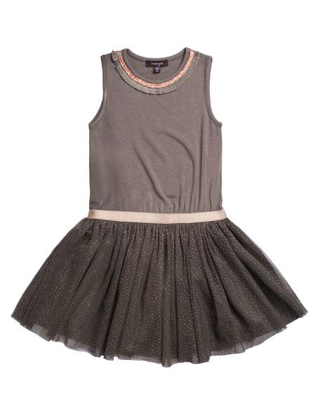 Imoga Solid Jersey & Glitter Mesh Dress, Size