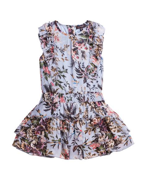 Imoga Floral-Print Chiffon Ruffle-Trim Dress, Size 7-14