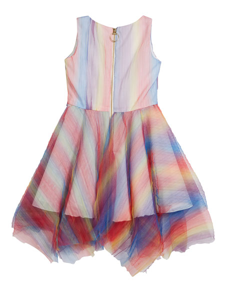Summer Pleated Rainbow Mesh Handkerchief Dress, Size 4-6X