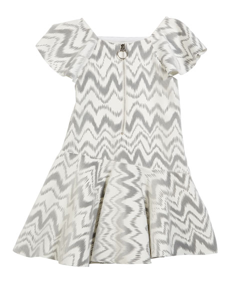 Kenzie Flocked Knit Zigzag Dress, Size 7-16