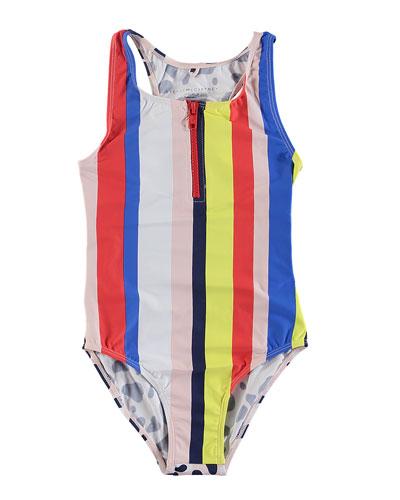 Striped & Camo-Print One-Piece Swimsuit  Size 6-14