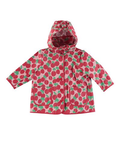 Cherry-Print Hooded Raincoat  Size 12-36 Months