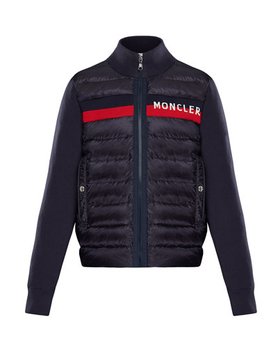 Quilted Zip-Front Jacket w/ Knit Trim  Size 8-14