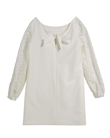 Shawna Lace-Sleeve Tie-Back Shift Dress, Size 7-16