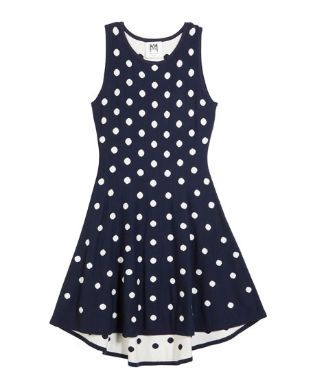 Polka-Dot jacquard Knit Dress, Size 4-6