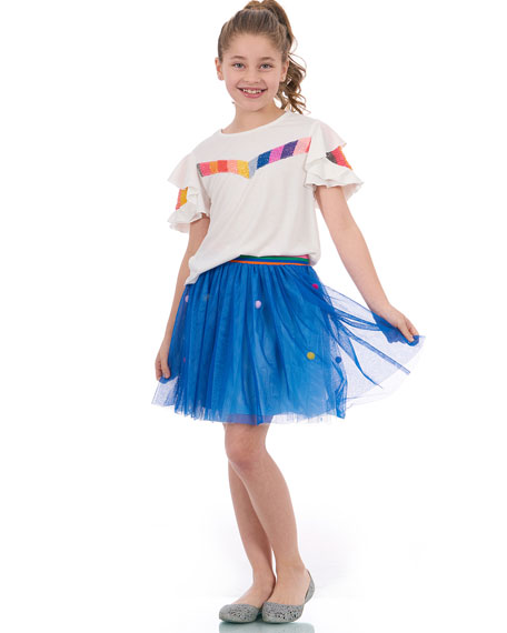Sequin Stripe Ruffle-Sleeves Top, Size 4-6