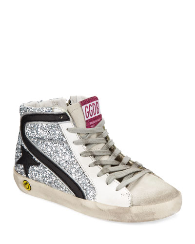 f677a813539 Promotion Slide High-Top Sequin Leather Sneakers Kids