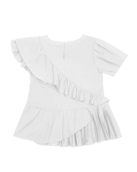 Amber Asymmetric Pleated Top, Size 7-14