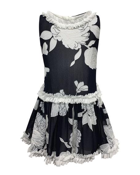 Peony Embroidered Ruffle-Trim Dress, Size 7-14