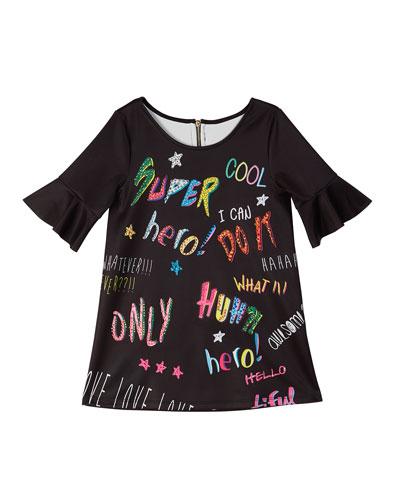 Bell-Sleeve Graffiti-Print Scuba Dress  Size 4-6