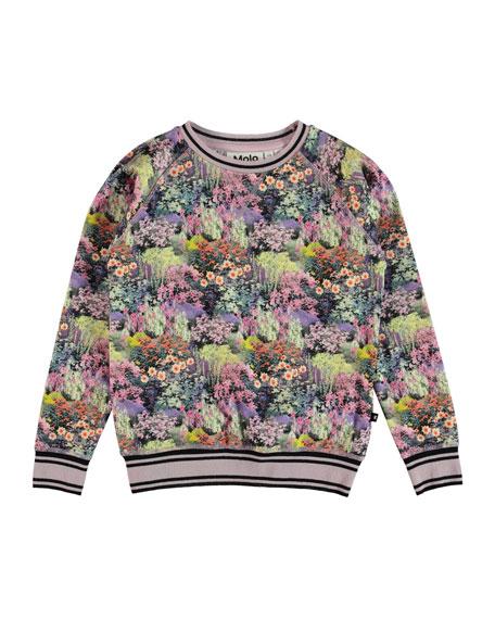 Molo Raewyn Floral Sweatshirt w/ Sports Ribbing, Size