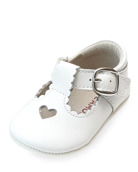 Rosale Heart Cutout Leather Mary Jane Crib Shoes, Baby