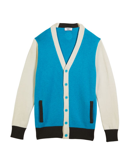 Boys' Colorblock V-Neck Cashmere Cardigan, Size 12