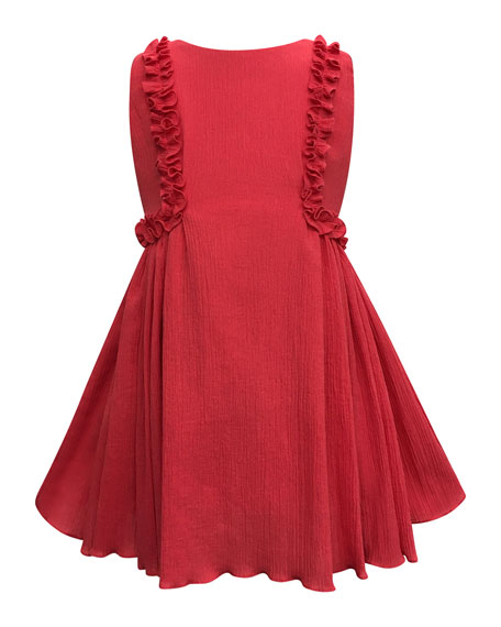 Crinkled Ruffle-Trim Dress, Size 7-14