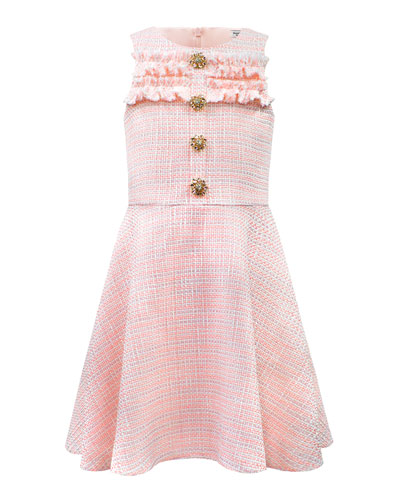 Tweed Raw-Edge Dress w/ Embellished Buttons  Size 8-16