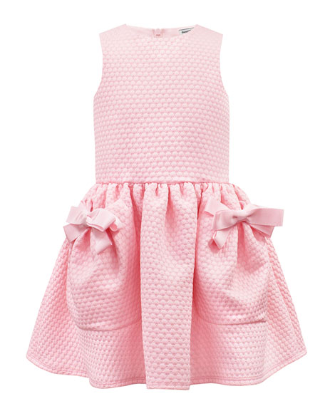 David Charles Piquet Knit Sleeveless Dress w/ Bow