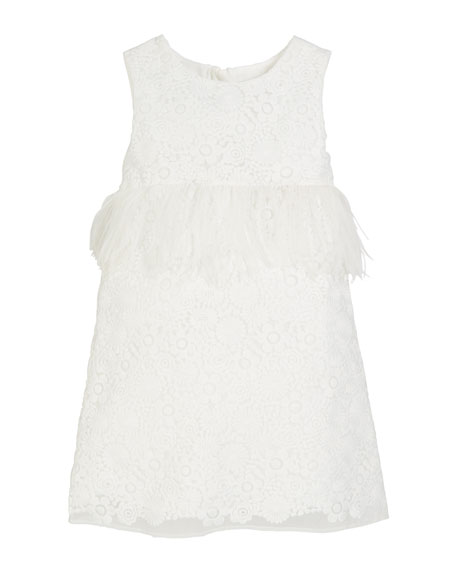 Special Occasion Feather-Trim Lace Dress, Size 2-4