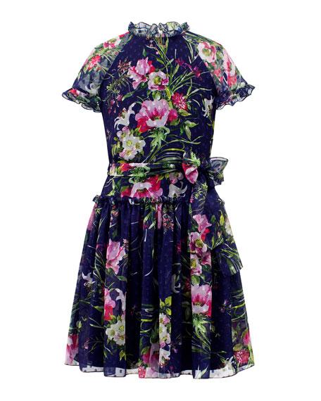 David Charles Dot Floral Chiffon High-Neck Dress, Size