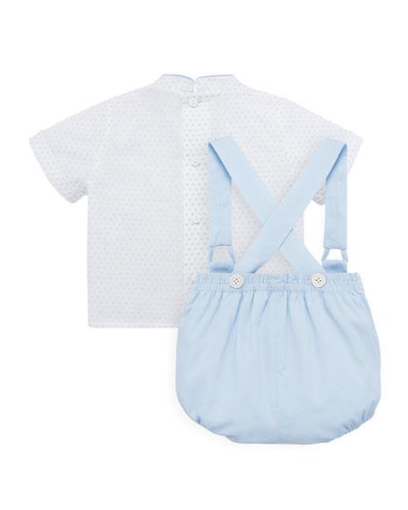 Bubble Suspender Trousers w/ Polka-Dot Blouse, Size 3M-2