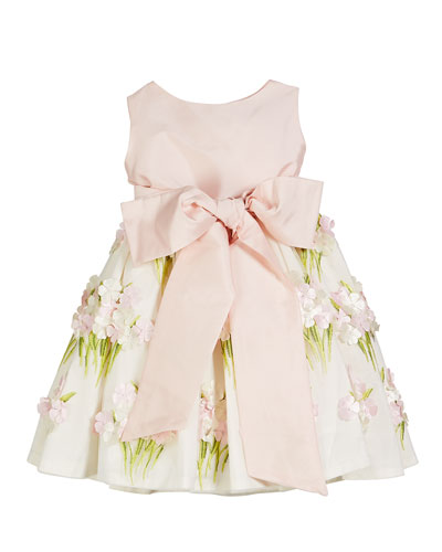 Solid Bow Front Dress w/ Floral Bouquet Skirt  Size 12M-4T