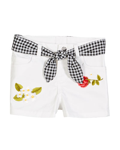 Twill Flower Embroidered Shorts w/ Gingham Sash  Size 12-36 Months