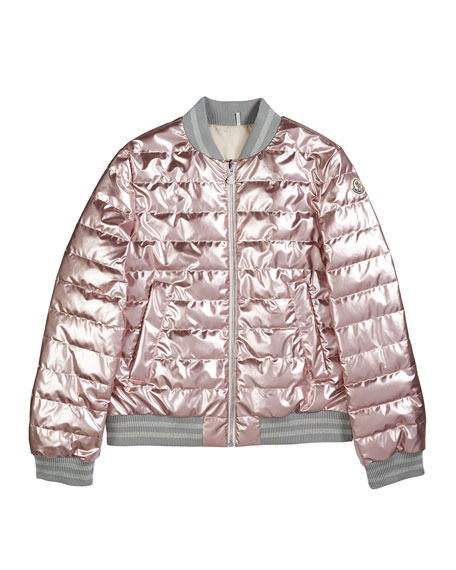 Image 1 of 1: Metallic Quilted Bomber Jacket, Size 4-6