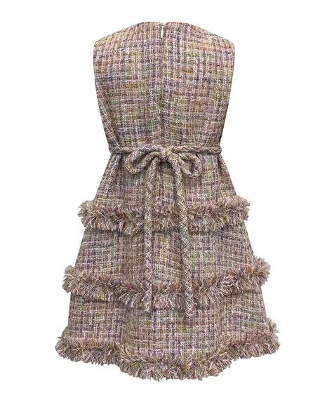 Sleeveless Fringe Tweed Dress, Size 2-6