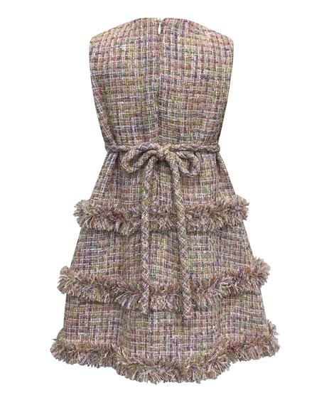 Sleeveless Fringe Tweed Dress, Size 7-14