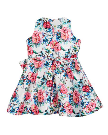 Floral Taffeta Sleeveless Dress, Size 7-14