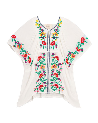 Woven Floral Embroidered Top  Size 4-6