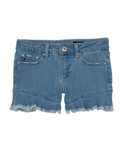 Girls' The Aria Ruffle-Hem Denim Shorts  Size 7-14
