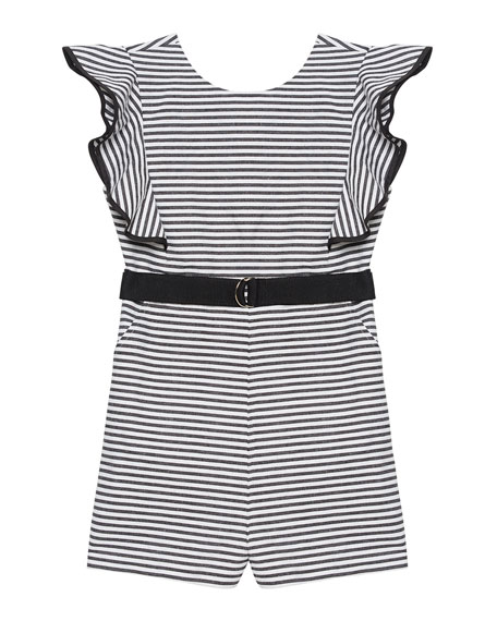 Esther Striped Ruffle-Sleeve Romper, Size 8-16