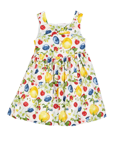 Apple-Print Sleeveless Dress, Size 4-7