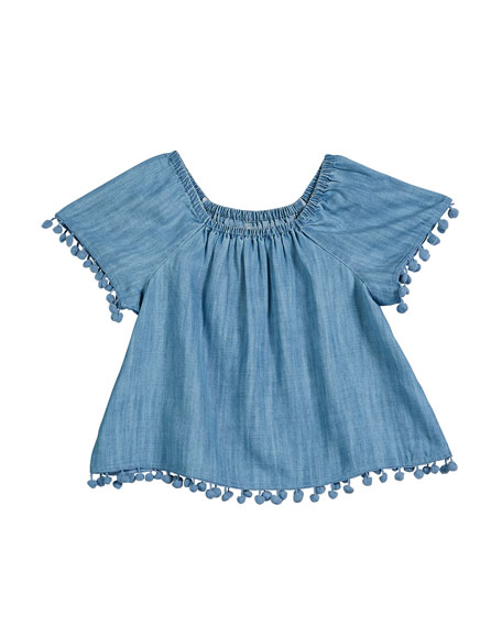 Chambray Short-Sleeve Top w/ Hanging Pompom Trim, Size 7-14