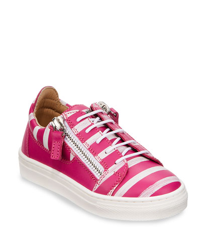 London Striped Leather Low-Top Sneakers  Toddler