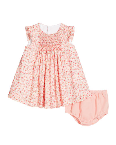 Ruffle-Sleeve Floral-Print Dress w/ Solid Bloomers  Size 3-24 Months