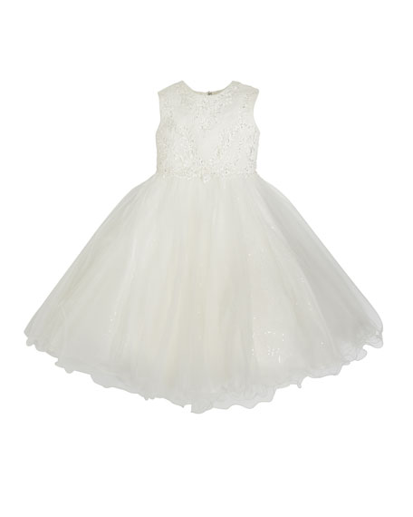Image 1 of 1: Lace & Sequin Tulle Tea Length Dress, Size 6-12